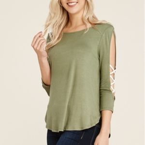 Tops - Carly Split Sleeve Faux Lace Up Pullover - Moss